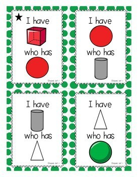 I Have Who Has Card Game: 2D and 3D Shapes-Kindergarten