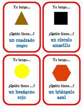 Las formas y los colores - ¿Quién tiene ...? - Question Chain Game