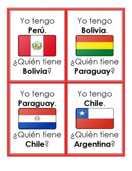 Los 21 países hispanohablantes - Question Chain Game