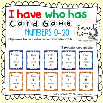I Have Who Has Card Game: Numbers 0-20