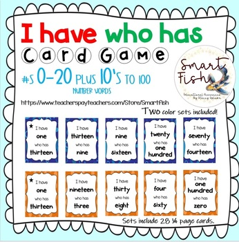 I Have Who Has Card Game: Number Words 0-20 Plus 10's to 100