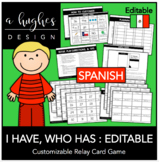 I Have, Who Has Card Game: Editable Spanish {A Hughes Design}