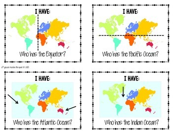 Have Who Has Card Game World Geography Map Skills And Terms - Geography map games