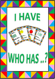 Math Games: I Have ...Who Has ...? (Add, Subtract, Shape, Time)