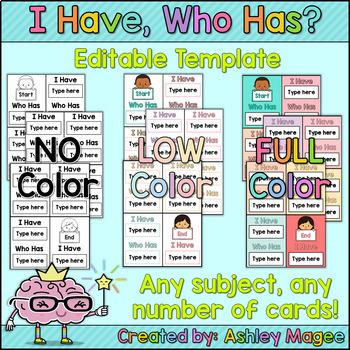i have who has card template by mrs magee teachers pay teachers