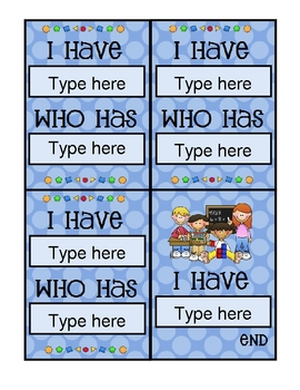 I Have, Who Has Card Template Math Theme