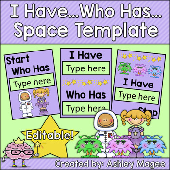 I Have, Who Has Card Template Space Themed