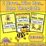 I Have Who Has Editable Card Template with a Bee theme