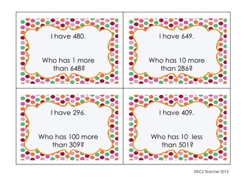 I Have Who Has Cards - Add/Subtract 1, 10, & 100 to 3-Digit Numbers