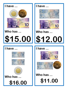 I Have / Who Has Cards - Canadian Whole Dollars
