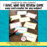 I Have Who Has Cards Generator Modified Review Game for Se