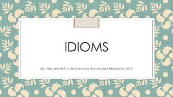 I Have Who Has Cards With Idioms