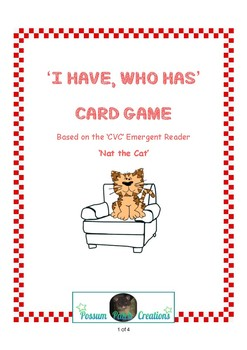 I Have, Who Has Cards based on the Emergent CVC Reader 'Nat the Cat'.