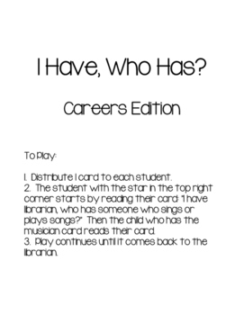 I Have Who Has Careers
