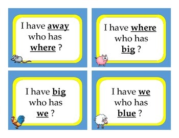 I Have Who Has Center Game using Pre-Primer Sight Words