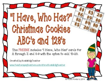 I Have, Who Has Christmas Cookies ABCs and 123s Freebie
