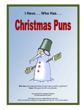 Christmas Pun.I Have Who Has Christmas Puns Game