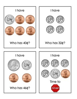 I Have-Who Has: Coins to 50 Cents