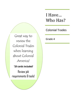 I Have Who Has Colonial Trades