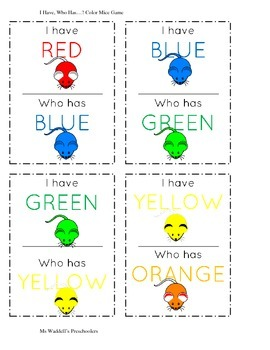 I Have, Who Has...? Color Game