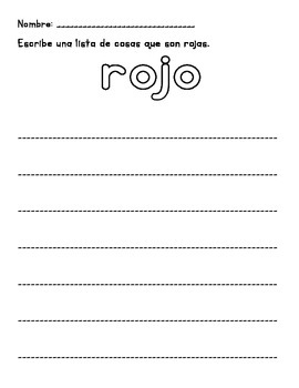 Color Word Activity Pack (English and Spanish)