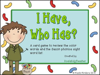 I Have, Who Has-Color Words and Kdg Saxon Phonics Sight Words