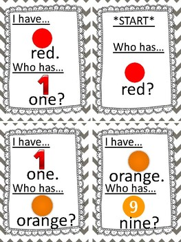 I Have Who Has (Color and Number Words)
