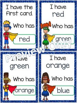 I Have, Who Has? ~ Colors and Color Words ~ Superheroes