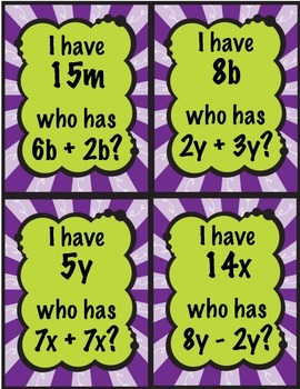 I Have, Who Has? Combining Like Terms 7.EE.1