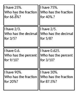 I Have Who Has...Common Fraction, Decimal, Percentage Equivalencies