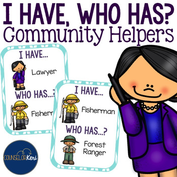 I Have Who Has Community Helpers Cards for Career Development School Counseling