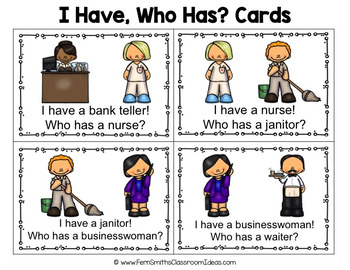 I Have Who Has Game Community Helpers Part 2 Cards