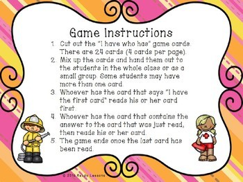 I Have Who Has Community Helpers and Career Game Activity