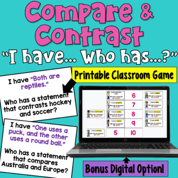 I Have... Who Has: Compare and Contrast