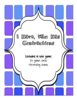 I Have, Who Has Contraction cards