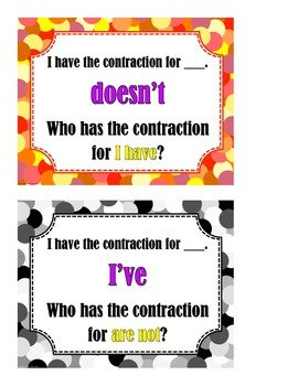 I Have... Who Has?  Contractions