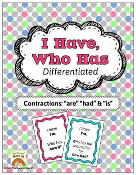 I Have, Who Has: Contractions {Had, Are & Is}
