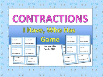 I Have, Who Has: Contractions / Loop Game {Common Core}
