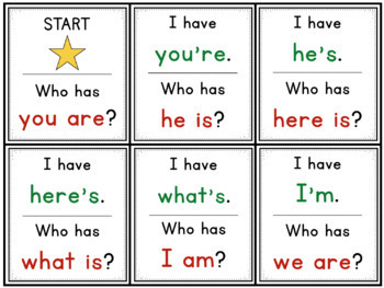 Contractions with Is, Am & Are: I Have... Who Has...?