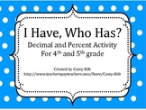 I Have, Who Has: Converting Percents and Decimals 40 Cards!