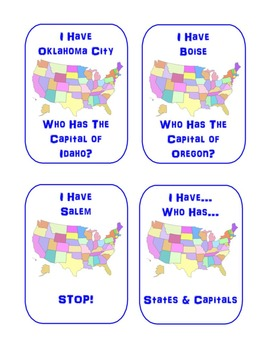 I Have Who Has Cooperative Learning Game--States & Capitals