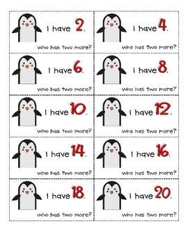 I Have, Who Has Count by 2s Penguin Game