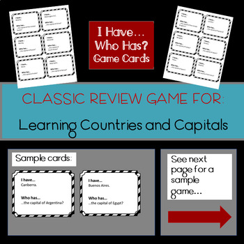 I Have...Who Has: Countries and Capitals of the World (Review Game 1)