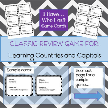 I Have...Who Has: Countries and Capitals of the World (Review Game 3)