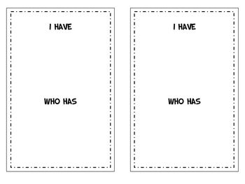 I Have, Who Has Customizable Template