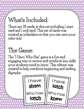 I Have Who Has DIGRAPHS Game (BLACKLINE)