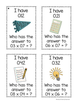 I Have, Who Has? Decimal Multiplication Game