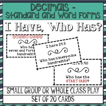 I Have, Who Has? Decimals in Words and Numbers