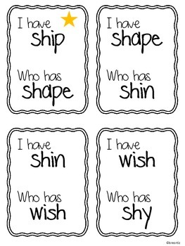 I Have Who Has Digraph Game