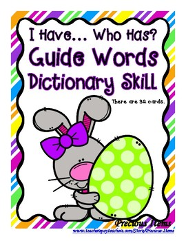 Guide Words Dictionary Skill - I Have...Who Has? Easter